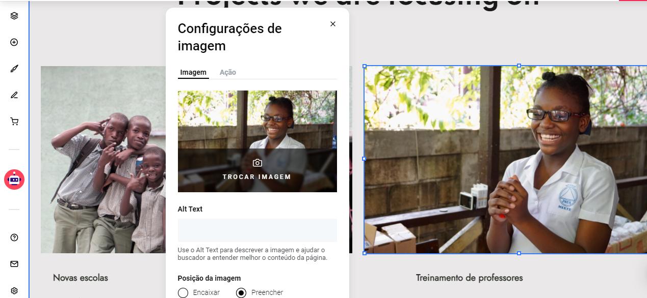 Editando as configurações de imagem