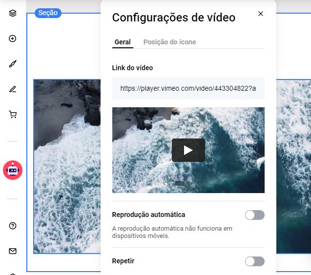Editando as configurações de vídeo