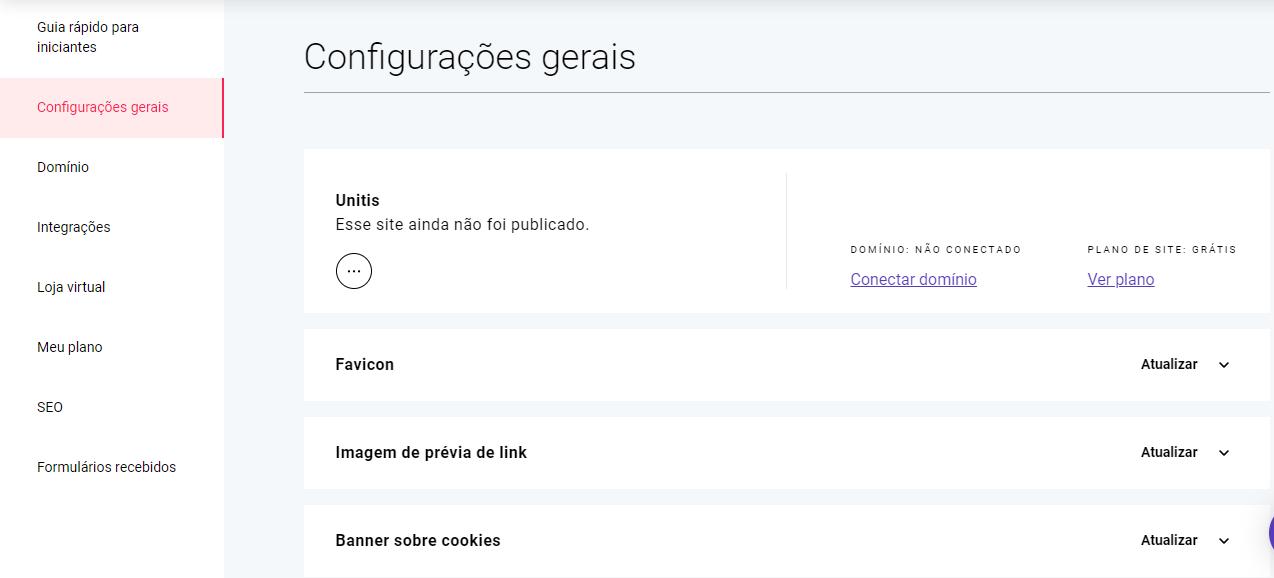 Editando as configurações gerais do site
