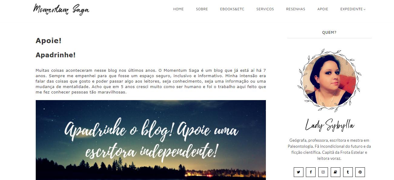 Exemplo de blog apoiado pelos leitores: Momentum Saga