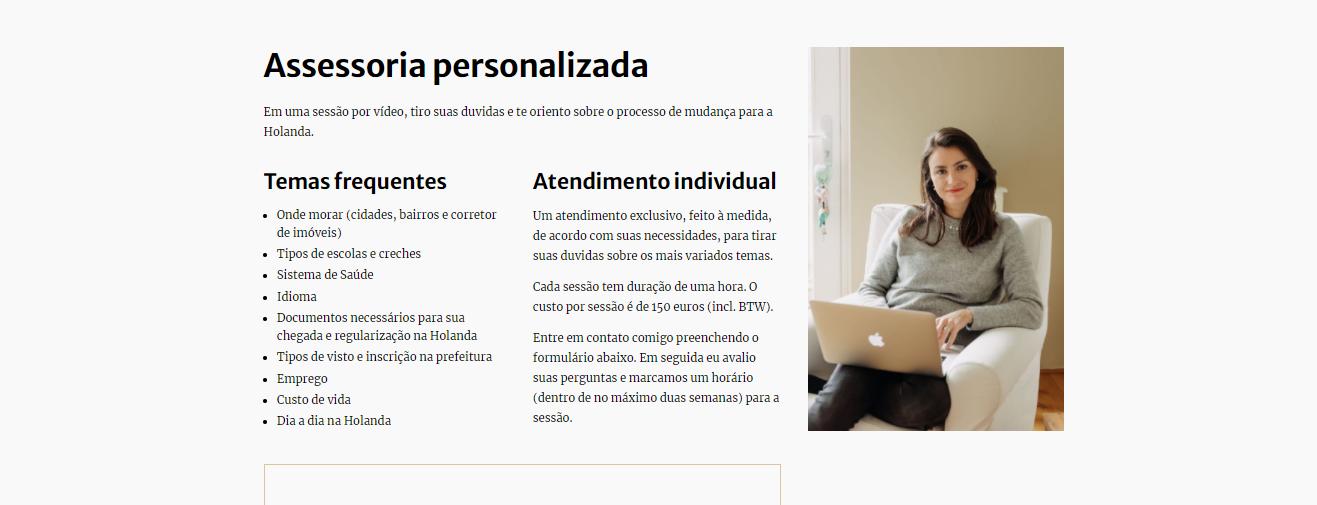 Exemplo de blog que oferece consultoria: Ana de Amsterdam