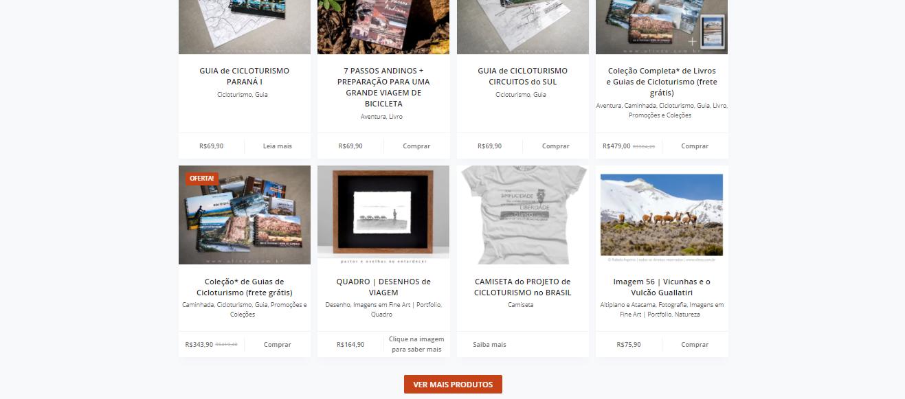 Exemplo de blog com loja virtual: Olinto e Rafaela Cicloturismo