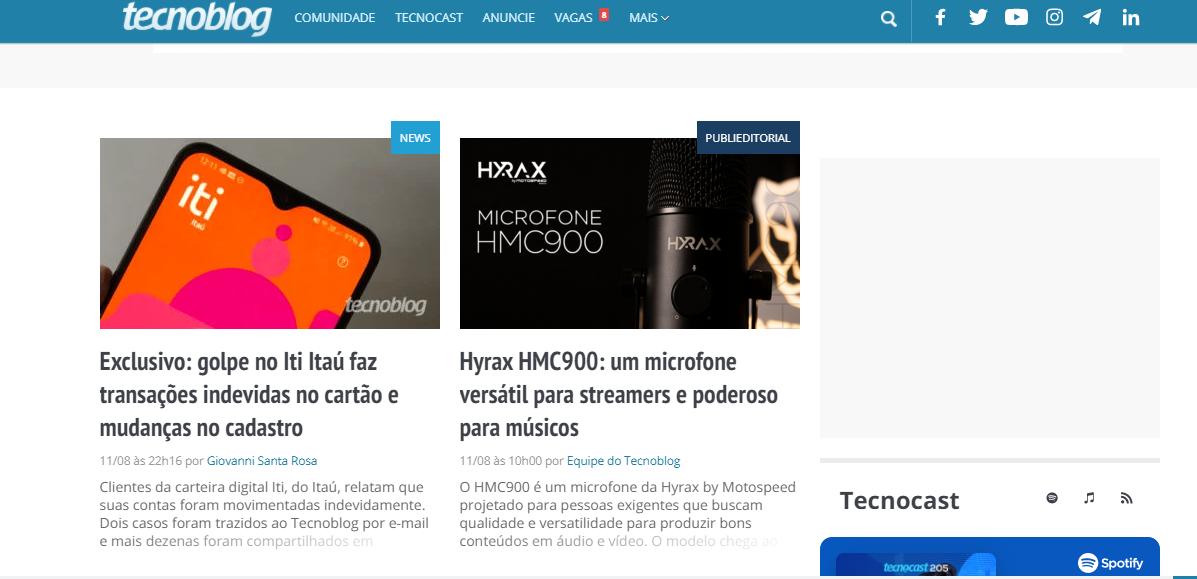 Exemplo de blog com postagens patrocinadas: TechnoBlog