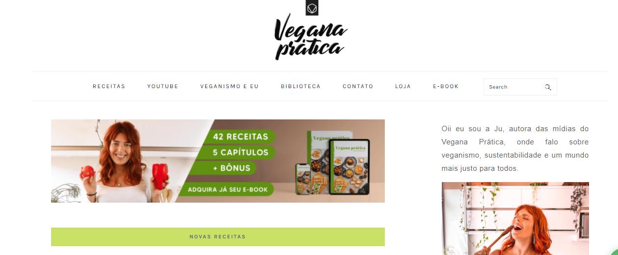 Exemplo de blog que vende produtos digitais: Vegana Prática