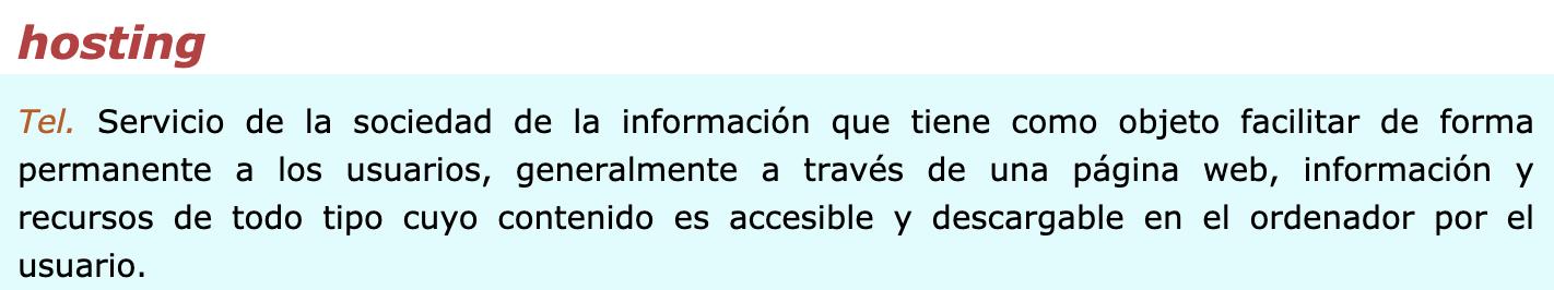 Definición de hosting web