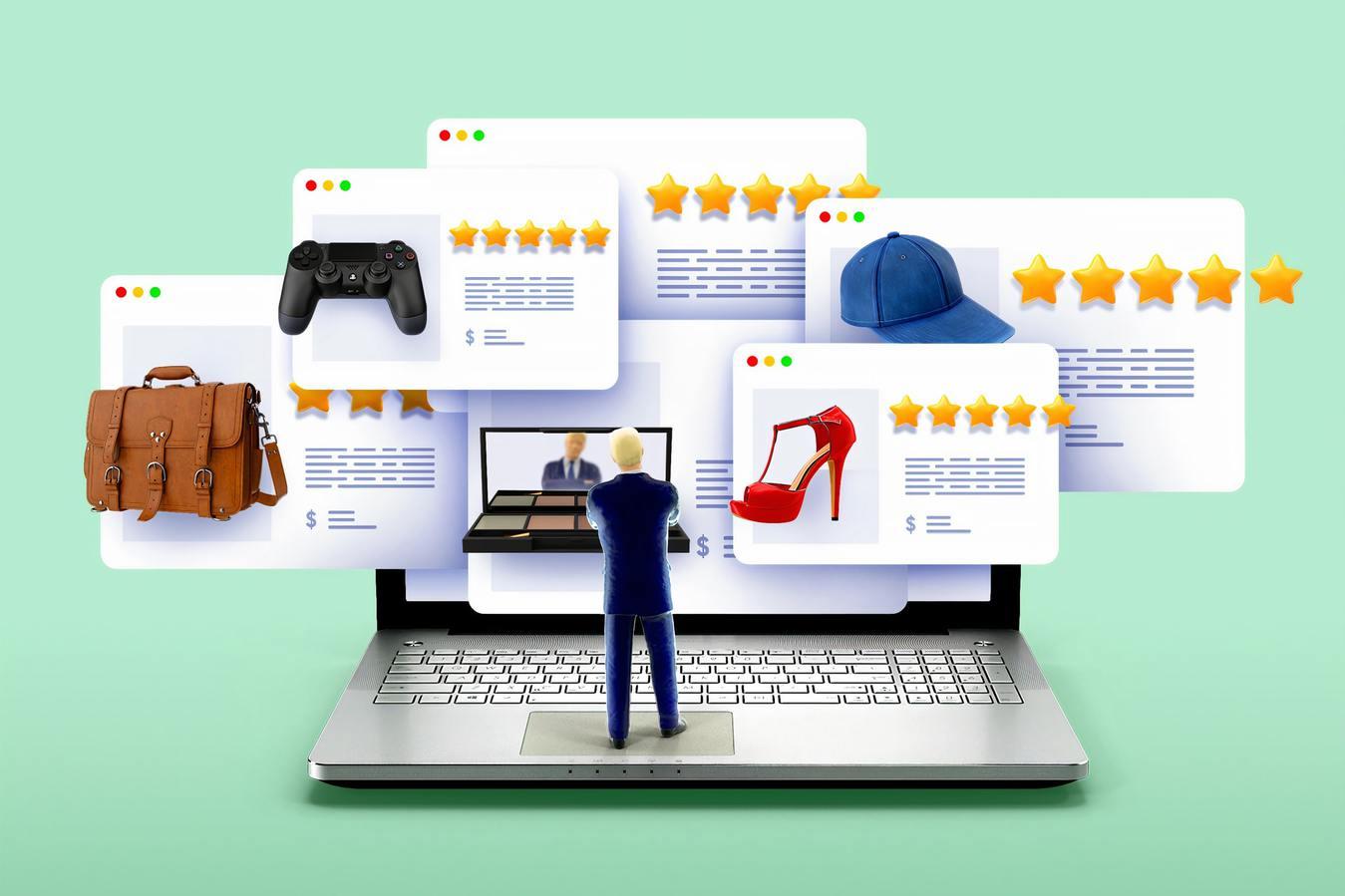 imagem digitalizada de homem analisando avaliações de produtos sobre um computador