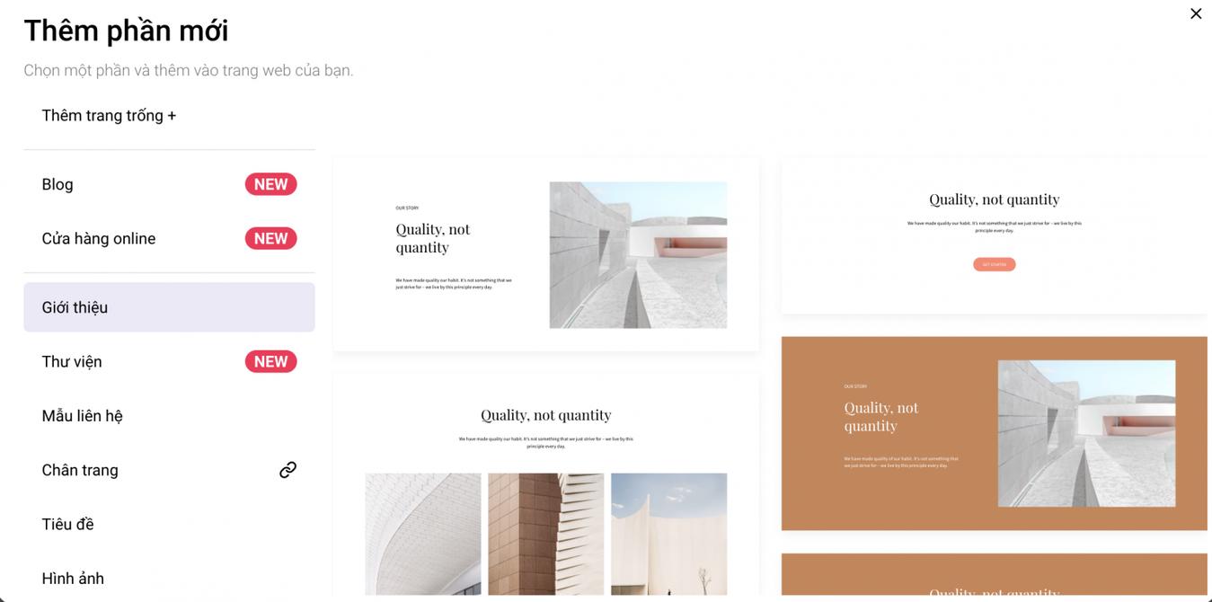 thêm phần mới hướng dẫn thiết kế website