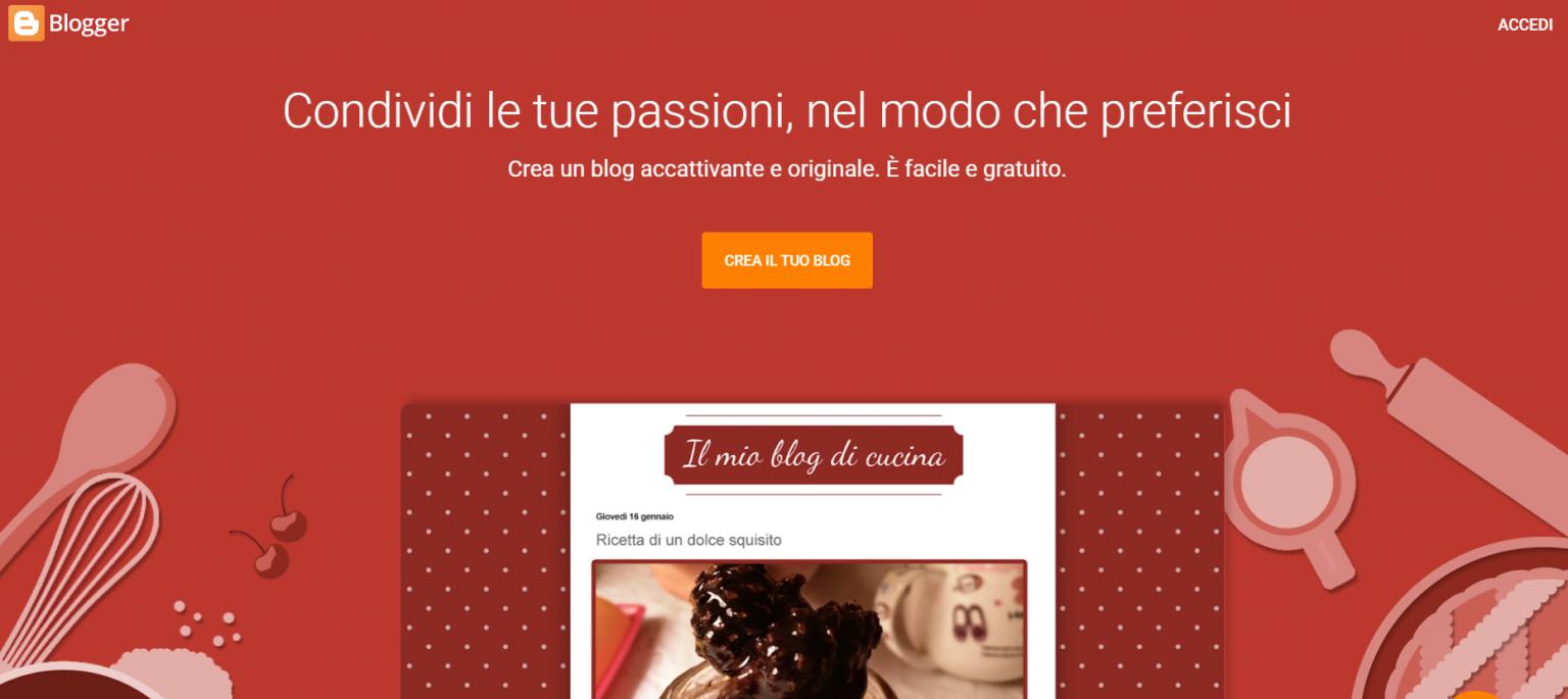 Landing page di Blogger