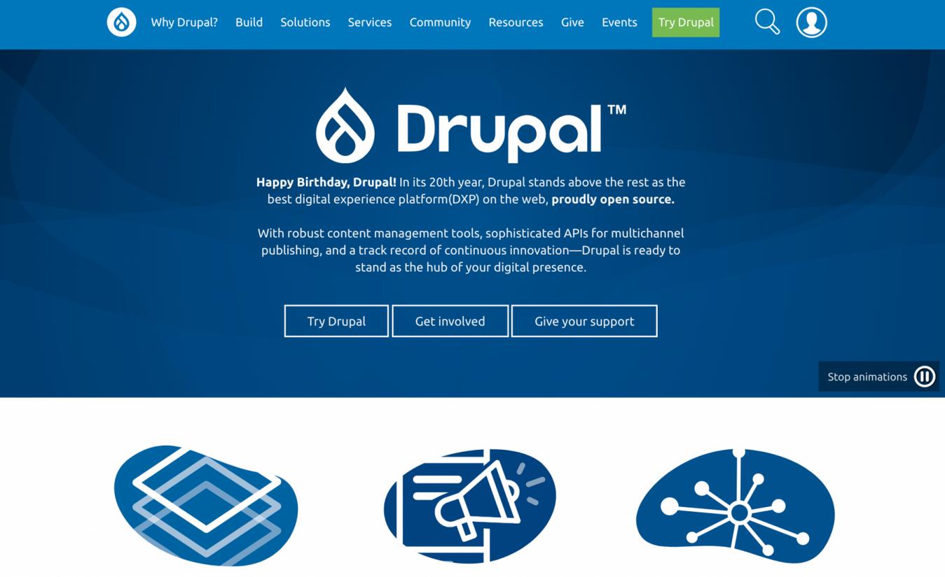 Landing page di Drupal
