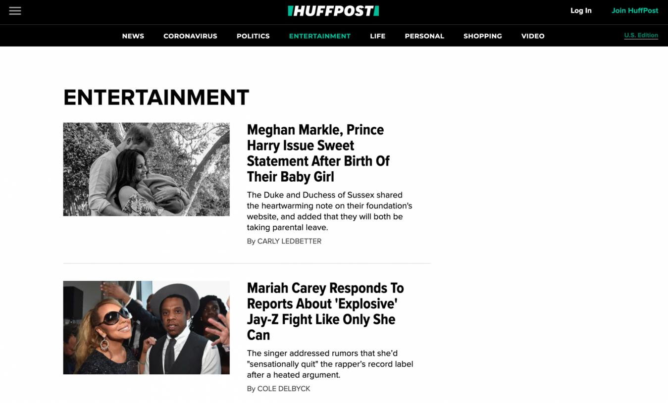 Landing page di Huffington post