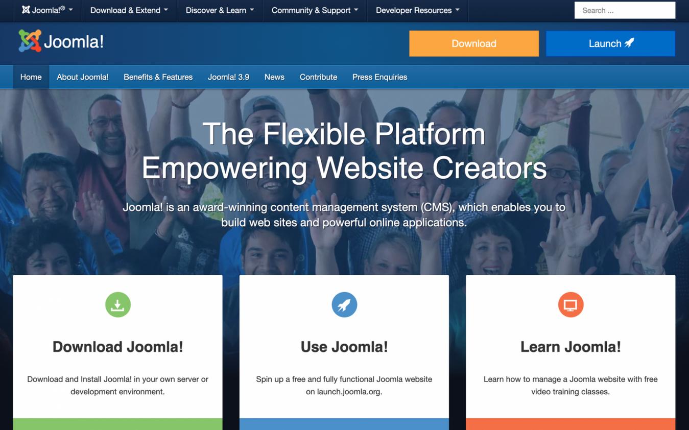 Landing page Joomla