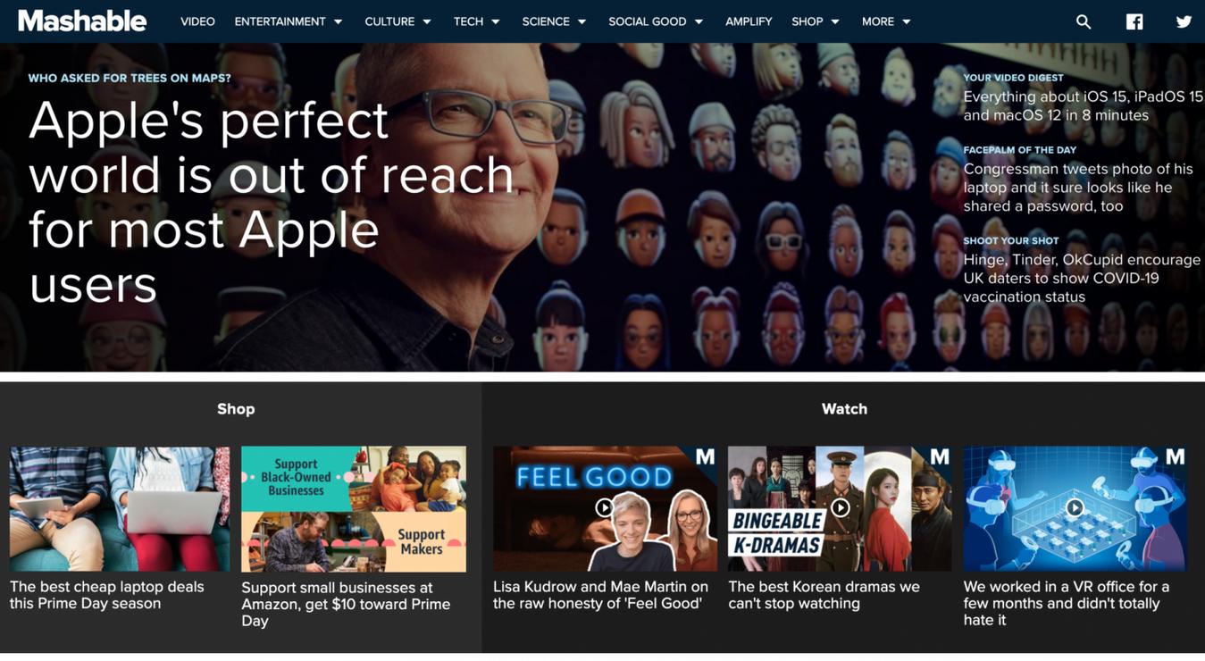 Landing page di Mashable