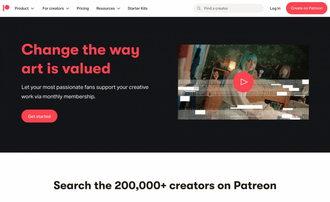 Landing page di Patreon