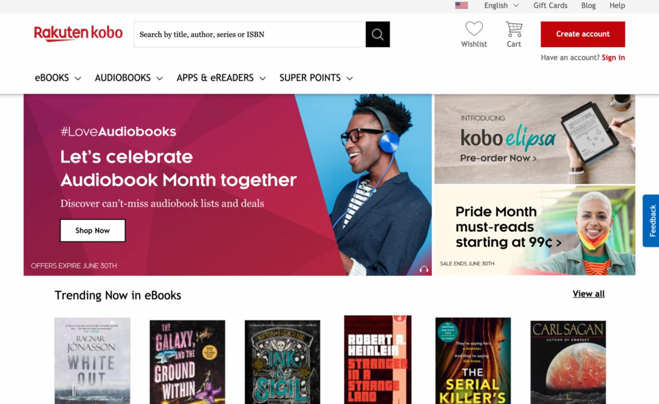 Landing page di Rakuten Kobo per eBook