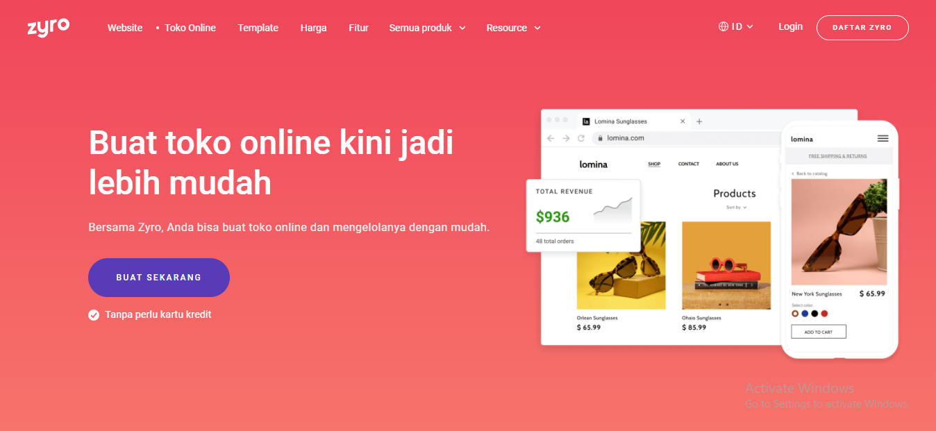 Landing page Zyro Indonesia