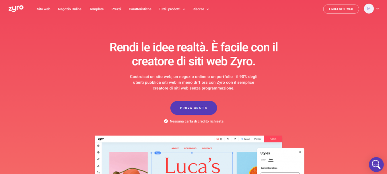 Landing page di Zyro