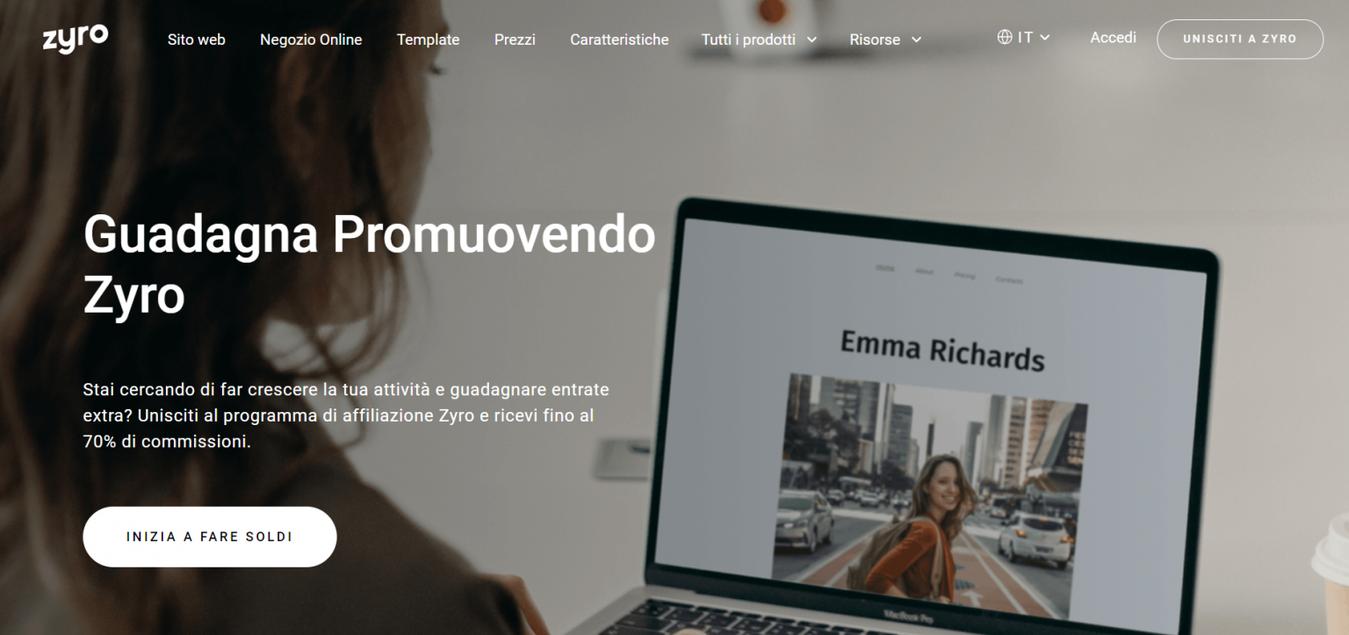Landing page di affiliate marketing di Zyro