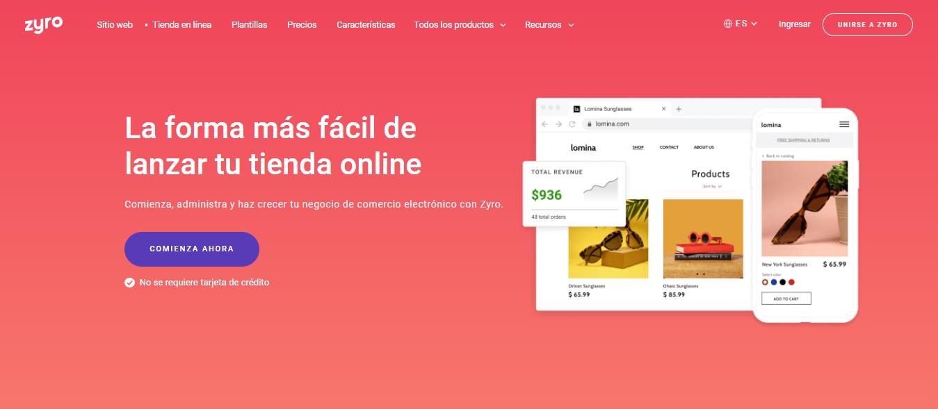 tienda online de Zyro