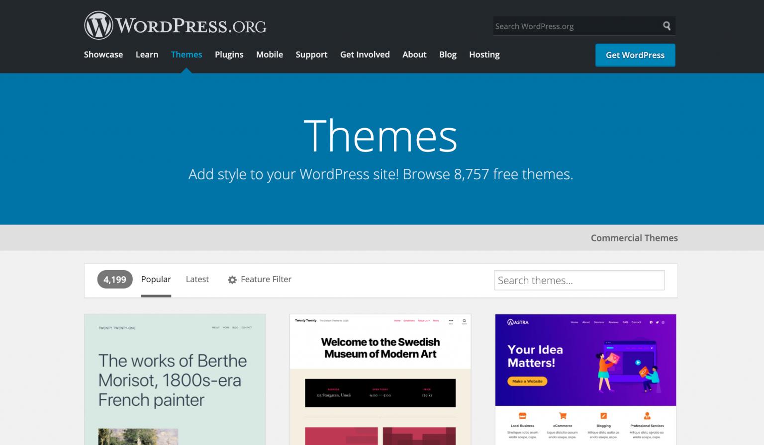 WordPress themes on wordpress.org