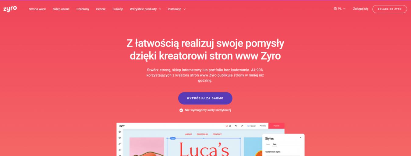 strona docelowa Zyro