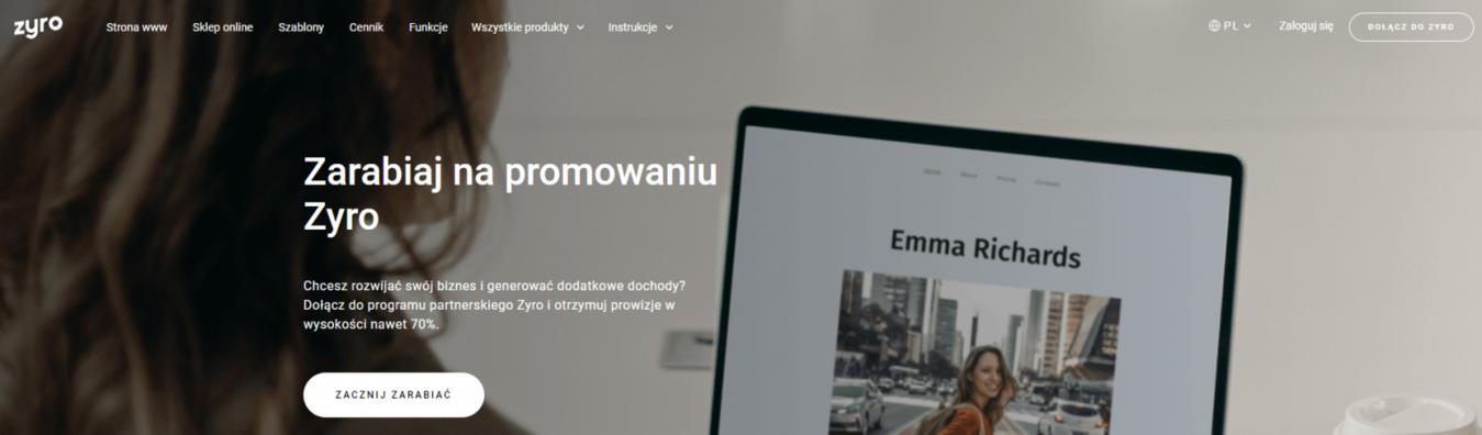 Strona docelowa marketingu partnerskiego Zyro